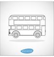 Retro city double decker London bus line icon vector image