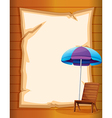 A paper with a beach chair and umbrella vector image vector image