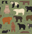 all world bear species in one set bears seamless vector image vector image