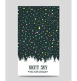 Background with night sky stars and forest hand vector image vector image