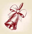 bell with bow hand drawn vector image vector image