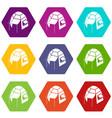 camping tent icons set 9 vector image