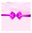 Card with purple bow has space for text vector image vector image