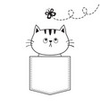 cat in the pocket flying butterfly doodle linear vector image vector image