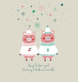 christmas card with cute pigs vector image vector image