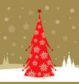 christmas tree in snow vector image vector image