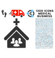 church people icon with 1300 medical business vector image vector image