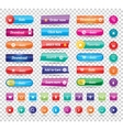 Colorful long round website buttons design vector image vector image