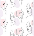 continuous one line woman face portrait seamless vector image vector image
