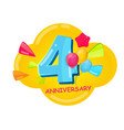 cute cartoon template 4 years anniversary vector image vector image