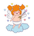 cute cupid chubby girl with arrow vector image