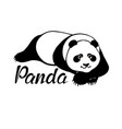 cute panda bear lying - original hand drawn vector image