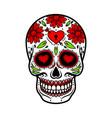 day of the dead skull skull sugar flower vector image vector image