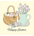 easter tulips spring bouquet holiday set vector image vector image