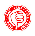 fake thumbs down stamp vector image vector image