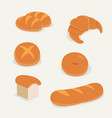 flat bread set with isolated backgroundfrench vector image vector image