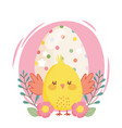 happy easter little chicken dotted egg flowers vector image