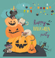 happy halloween with pumpkin and cute cats in vector image vector image