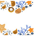 happy summer greeting card with seashells on white vector image vector image