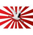 japanese crane flying on navy flag vector image