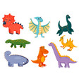 kawai funny dinosaur cartoon character icon set vector image