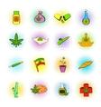 Medical marijuana icons comics style vector image vector image