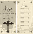 menu for cafe or restaurant with price list vector image