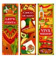 mexican flag cinco de mayo guitar and sombrero vector image vector image