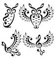 music bird and owl set vector image