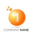number one splash logo orange dots and bubbles vector image vector image