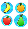 orange banana apple pear fruit cartoon color vector image vector image
