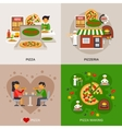 Pizzeria Concept Icons Set vector image vector image
