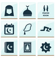 ramadan icons set with room minaret rosary and vector image vector image