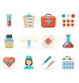 Retro Flat Medical Isolated Polygonal Icons Set vector image