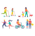 run hobby of people icons vector image vector image