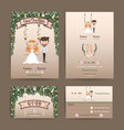 Rustic wedding cartoon bride and groom couple vector image vector image
