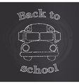 School bus with back to school sign on chalk board vector image