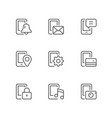 set line icons mobile phone functions vector image vector image