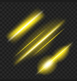 set of yellow glowing light effect isolated on vector image vector image