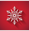 Snowflake icon with long shadow on red background vector image