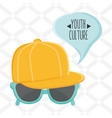 sport cap youth accessory with sunglasses and vector image