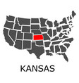 state kansas on map usa vector image vector image
