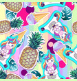 summer seamless pattern with unicorn and pineapple vector image vector image