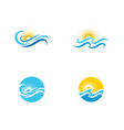 sun with water wave icon vector image vector image