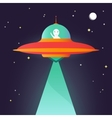Ufo Alien in night sky vector image vector image