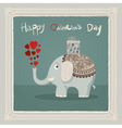 valentines day elephant card vector image