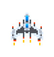 vintage spaceship game hero in pixel art style on vector image