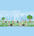 volunteer cleaning garbage in park on city vector image vector image