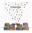 white background with sparkles of knowledge stack vector image vector image