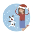 Winter Card Happy Girl with her Pet Dog Jumping vector image vector image